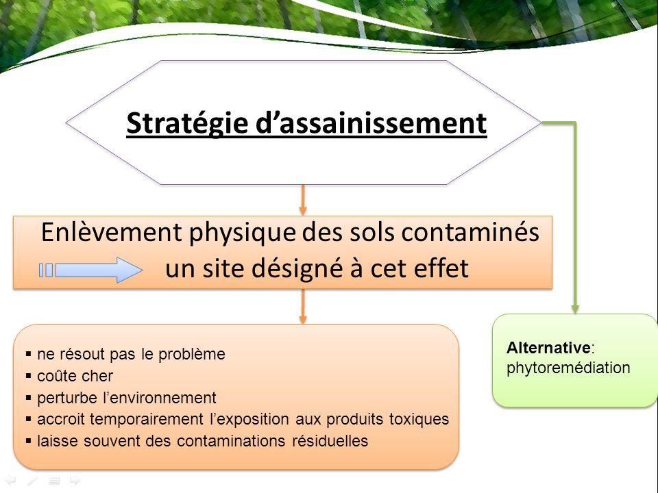Stratégie dassainissement un site désigné à cet effet Enlèvement physique des sols contaminés ne résout pas le problème coûte cher perturbe lenvironne