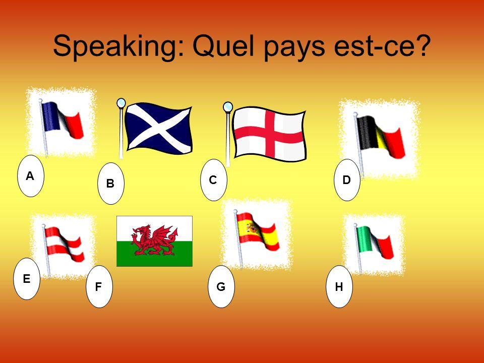 Speaking: Quel pays est-ce? A B CD E FGH