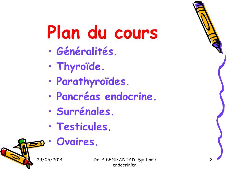 29/05/2014Dr. A.BENHADDAD- Système endocrinien 2 Plan du cours Généralités. Thyroïde. Parathyroïdes. Pancréas endocrine. Surrénales. Testicules. Ovair