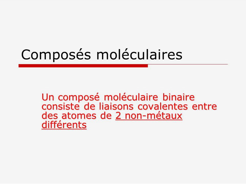 Composés moléculaires Un composé moléculaire binaire consiste de liaisons covalentes entre des atomes de 2 non-métaux différents