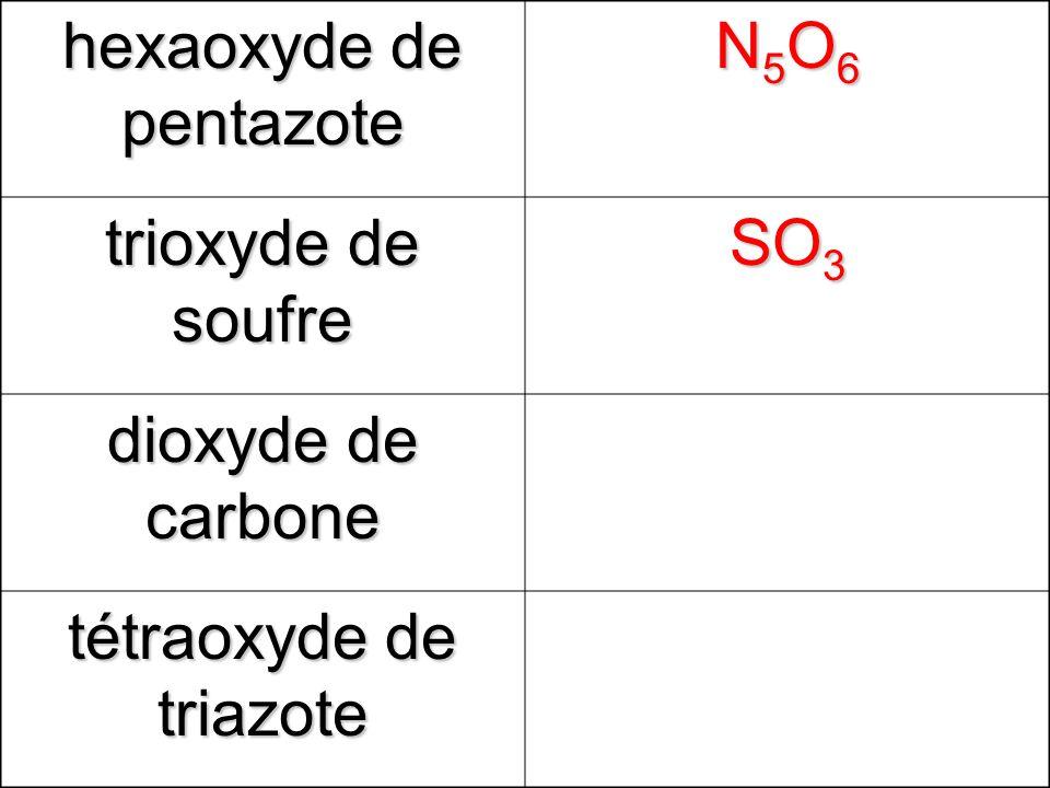 hexaoxyde de pentazote N5O6N5O6N5O6N5O6 trioxyde de soufre SO 3 dioxyde de carbone tétraoxyde de triazote