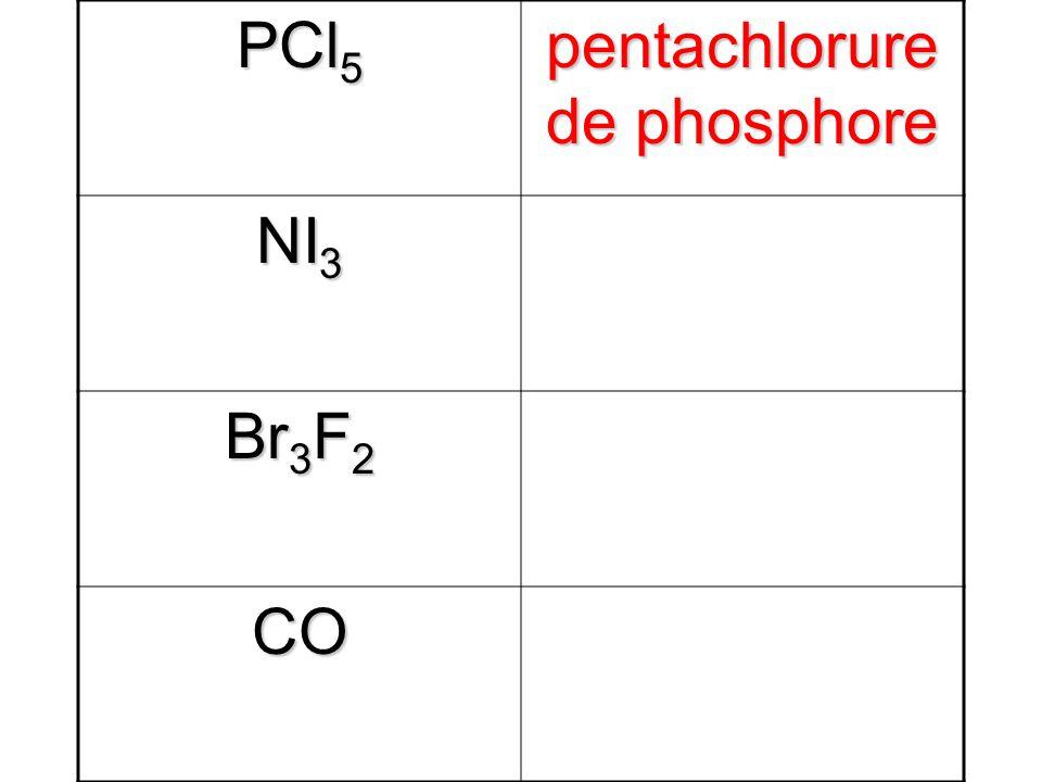 PCl 5 pentachlorure de phosphore NI 3 Br 3 F 2 CO