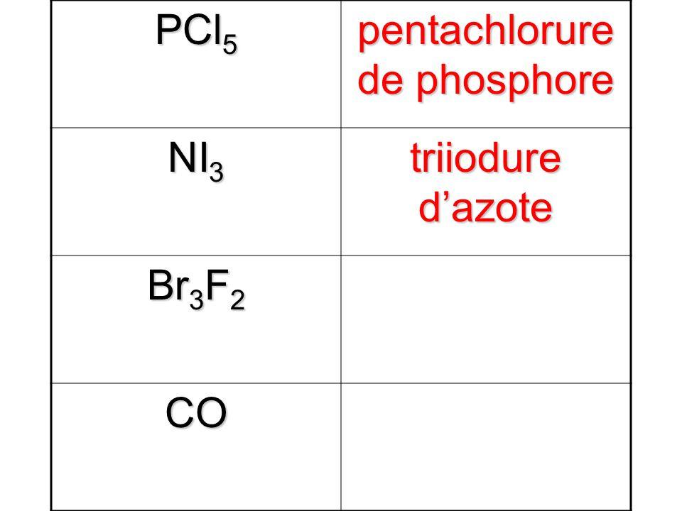 PCl 5 pentachlorure de phosphore NI 3 triiodure dazote Br 3 F 2 difluorure de tribrome CO