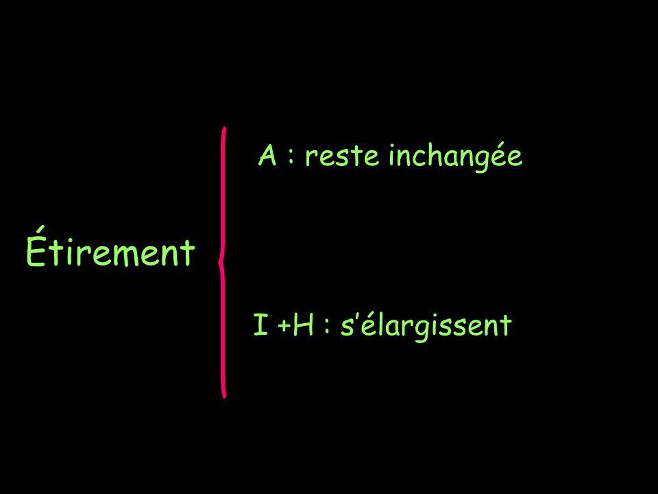 Étirement A : reste inchangée I +H : sélargissent