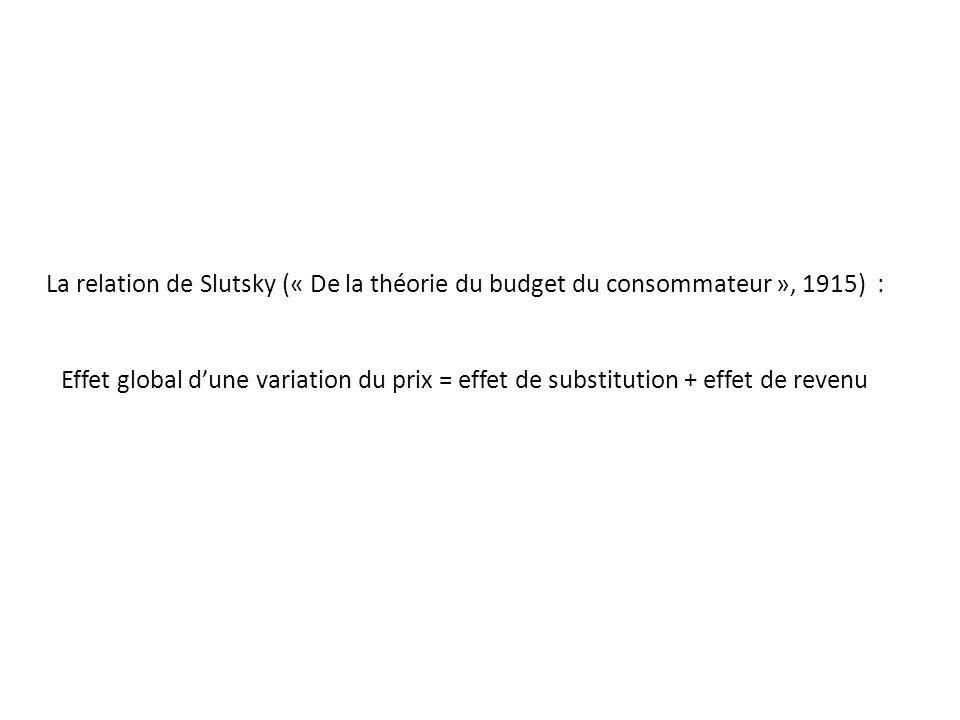 La relation de Slutsky (« De la théorie du budget du consommateur », 1915) : Effet global dune variation du prix = effet de substitution + effet de re