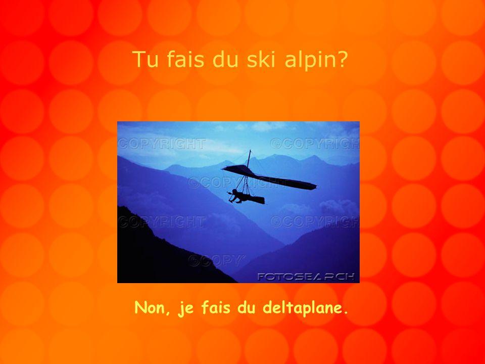 Tu fais du ski alpin? Non, je fais du deltaplane.