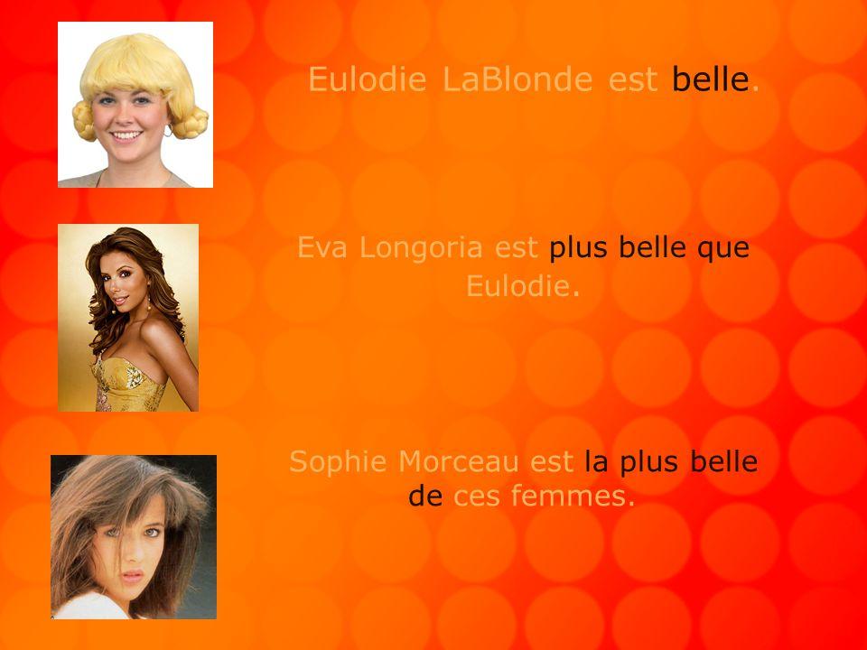 Eulodie LaBlonde est belle. Eva Longoria est plus belle que Eulodie.
