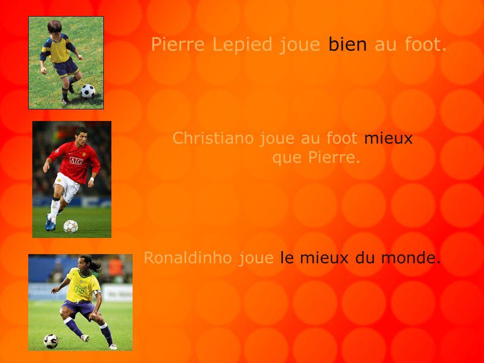 Pierre Lepied joue bien au foot. Christiano joue au foot mieux que Pierre.