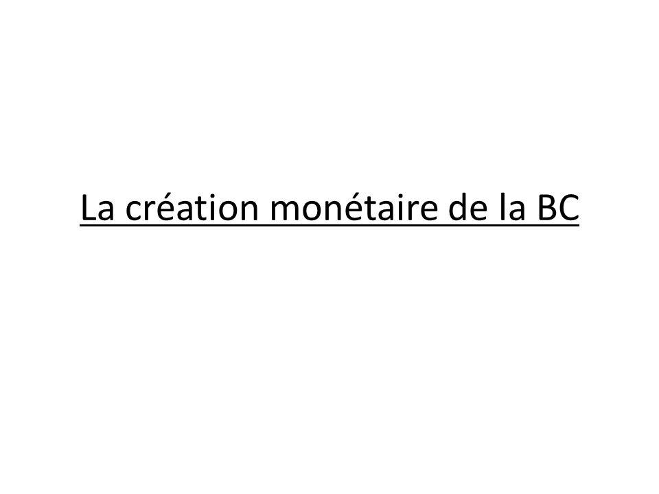 La création monétaire de la BC