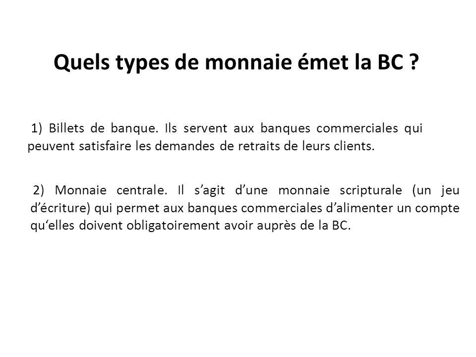 Quels types de monnaie émet la BC . 2) Monnaie centrale.