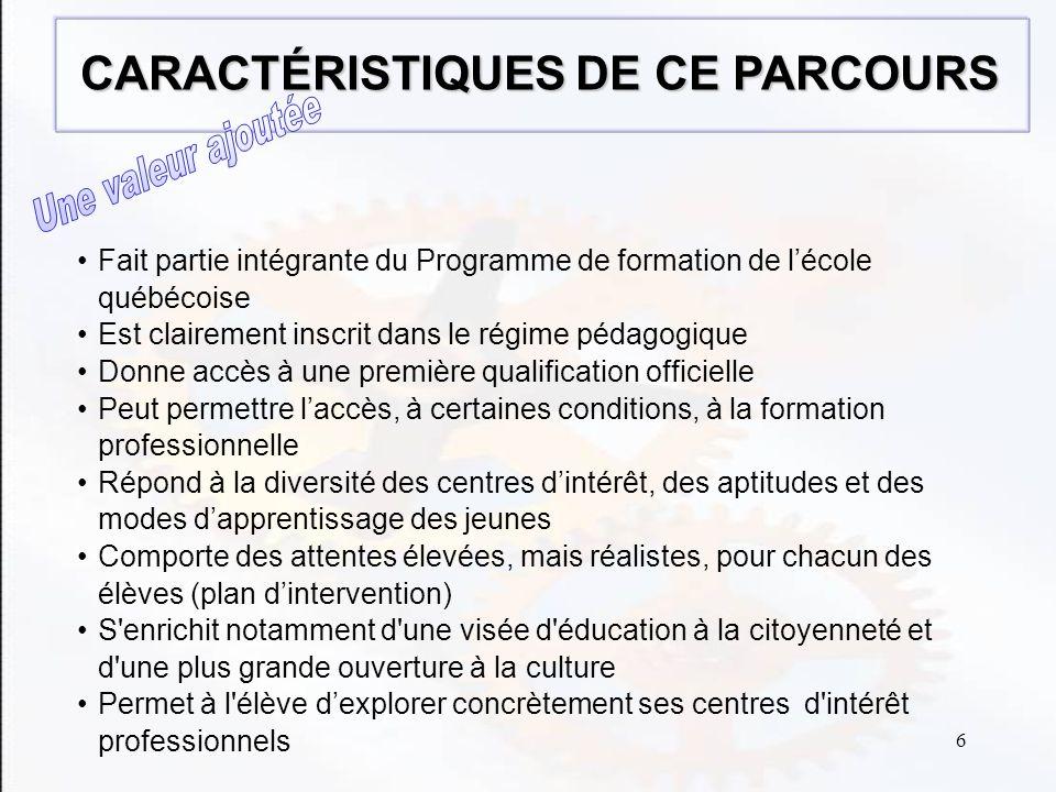 6 Fait partie intégrante du Programme de formation de lécole québécoise Est clairement inscrit dans le régime pédagogique Donne accès à une première qualification officielle Peut permettre laccès, à certaines conditions, à la formation professionnelle Répond à la diversité des centres dintérêt, des aptitudes et des modes dapprentissage des jeunes Comporte des attentes élevées, mais réalistes, pour chacun des élèves (plan dintervention) S enrichit notamment d une visée d éducation à la citoyenneté et d une plus grande ouverture à la culture Permet à l élève dexplorer concrètement ses centres d intérêt professionnels CARACTÉRISTIQUES DE CE PARCOURS