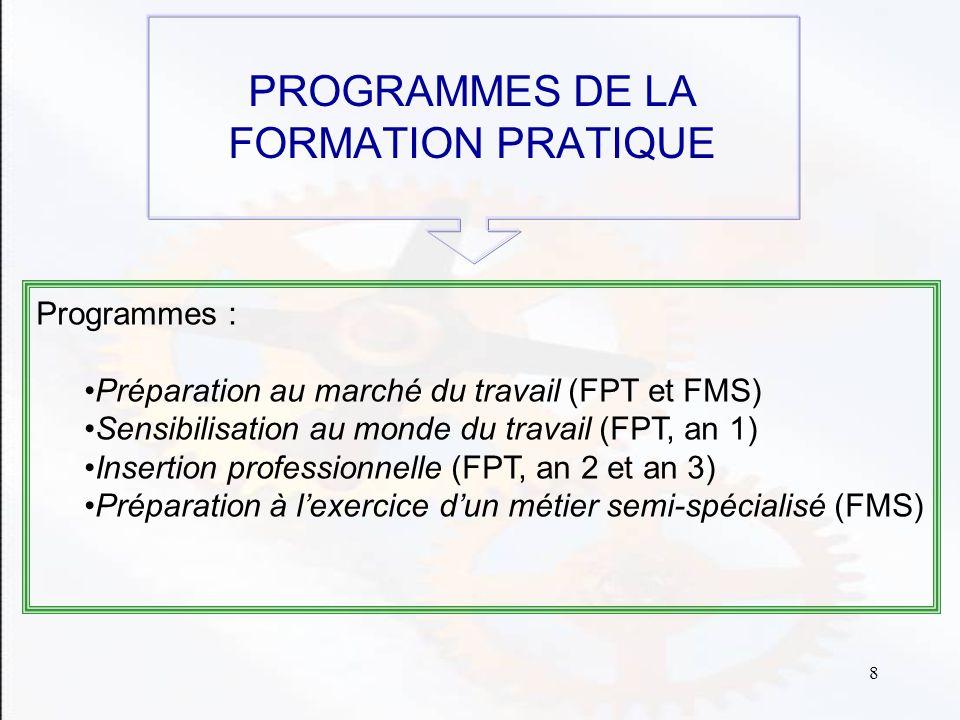 8 PROGRAMMES DE LA FORMATION PRATIQUE Programmes : Préparation au marché du travail (FPT et FMS) Sensibilisation au monde du travail (FPT, an 1) Insertion professionnelle (FPT, an 2 et an 3) Préparation à lexercice dun métier semi-spécialisé (FMS)