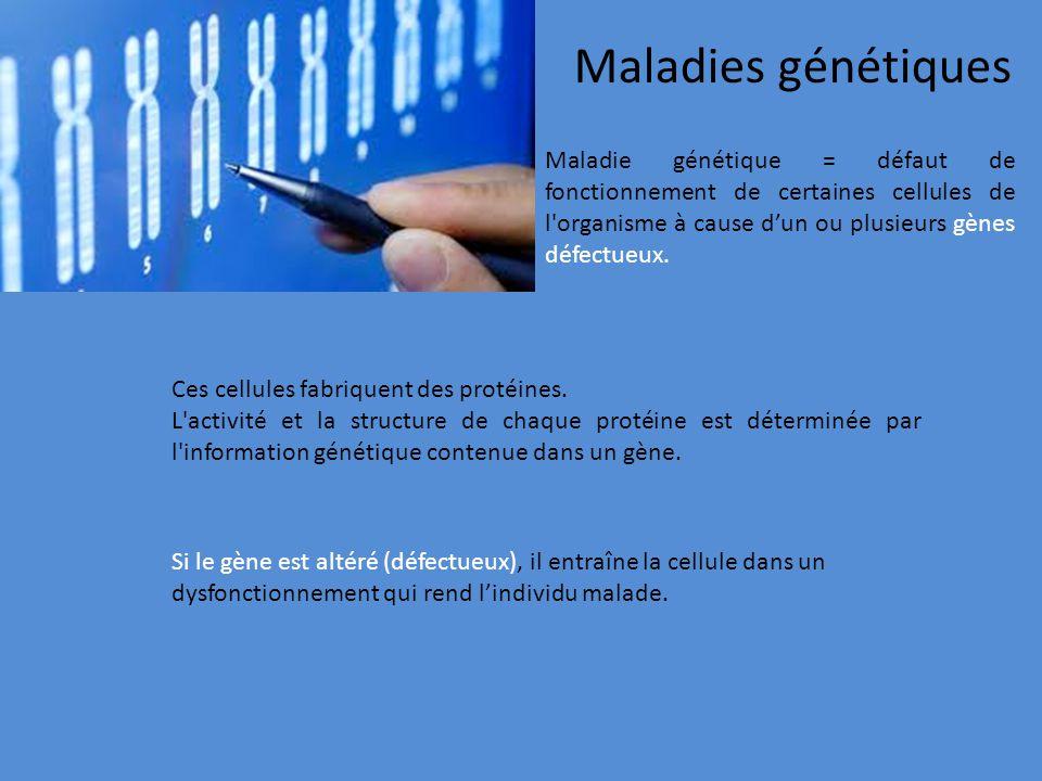Maladie génétique = défaut de fonctionnement de certaines cellules de l'organisme à cause dun ou plusieurs gènes défectueux. Maladies génétiques Si le