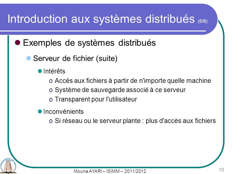 Mouna AYARI – ISIMM – 2011/2012 10 Introduction aux systèmes distribués (5/9) Exemples de systèmes distribués Serveur de fichier (suite) Intérêts oAccès aux fichiers à partir de n importe quelle machine oSystème de sauvegarde associé à ce serveur oTransparent pour l utilisateur Inconvénients oSi réseau ou le serveur plante : plus d accès aux fichiers