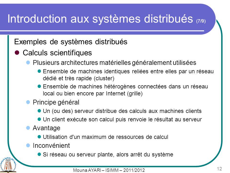 Mouna AYARI – ISIMM – 2011/2012 12 Introduction aux systèmes distribués (7/9) Exemples de systèmes distribués Calculs scientifiques Plusieurs architec