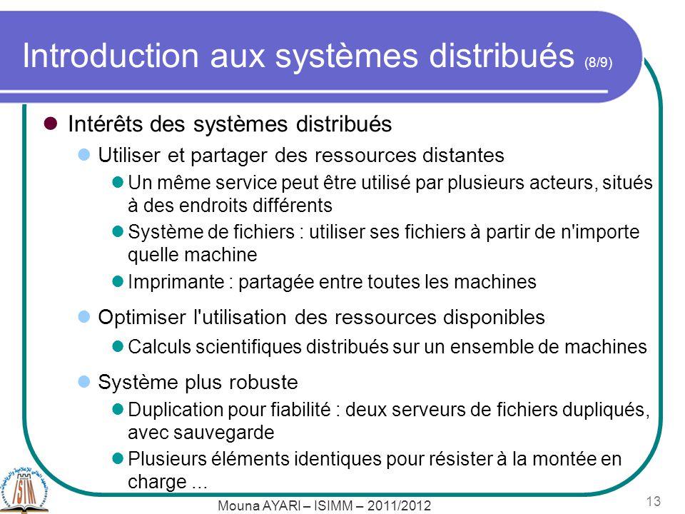 Mouna AYARI – ISIMM – 2011/2012 13 Introduction aux systèmes distribués (8/9) Intérêts des systèmes distribués Utiliser et partager des ressources dis