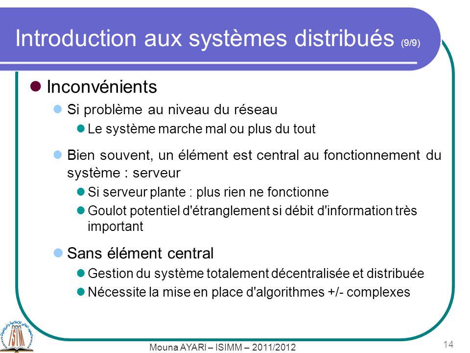 Mouna AYARI – ISIMM – 2011/2012 14 Introduction aux systèmes distribués (9/9) Inconvénients Si problème au niveau du réseau Le système marche mal ou p