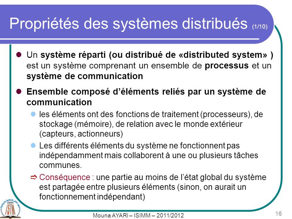 Mouna AYARI – ISIMM – 2011/2012 16 Propriétés des systèmes distribués (1/10) Un système réparti (ou distribué de «distributed system» ) est un système