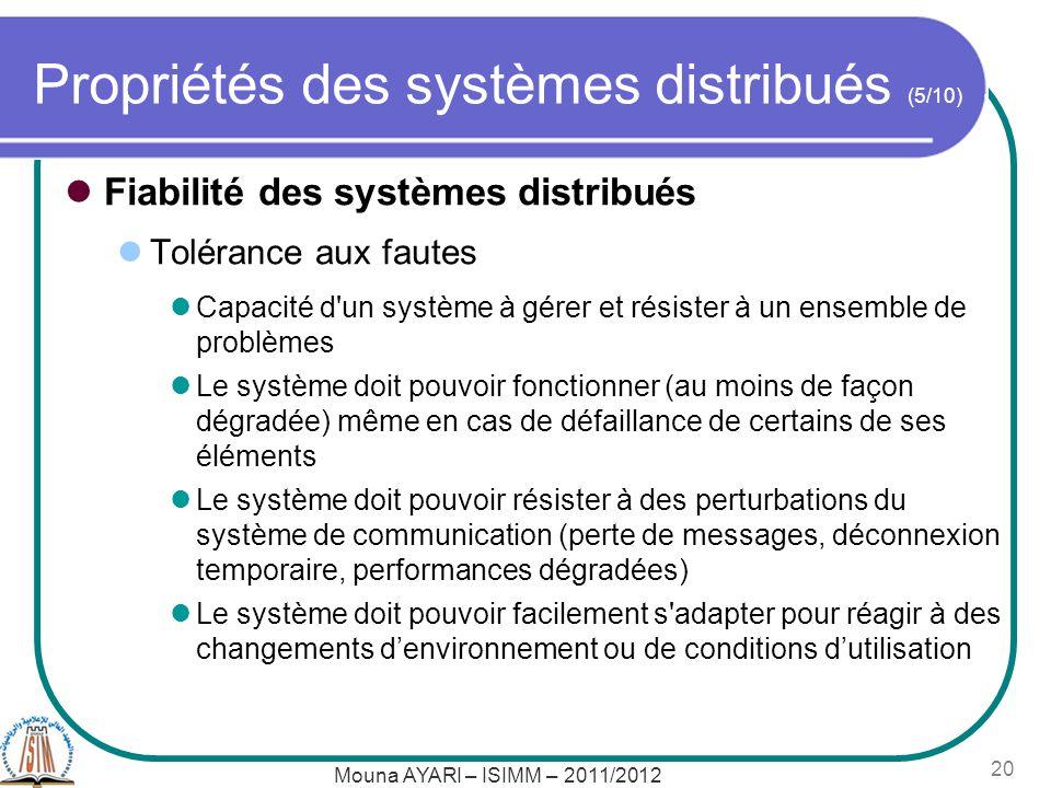Propriétés des systèmes distribués (5/10) Fiabilité des systèmes distribués Tolérance aux fautes Capacité d'un système à gérer et résister à un ensemb