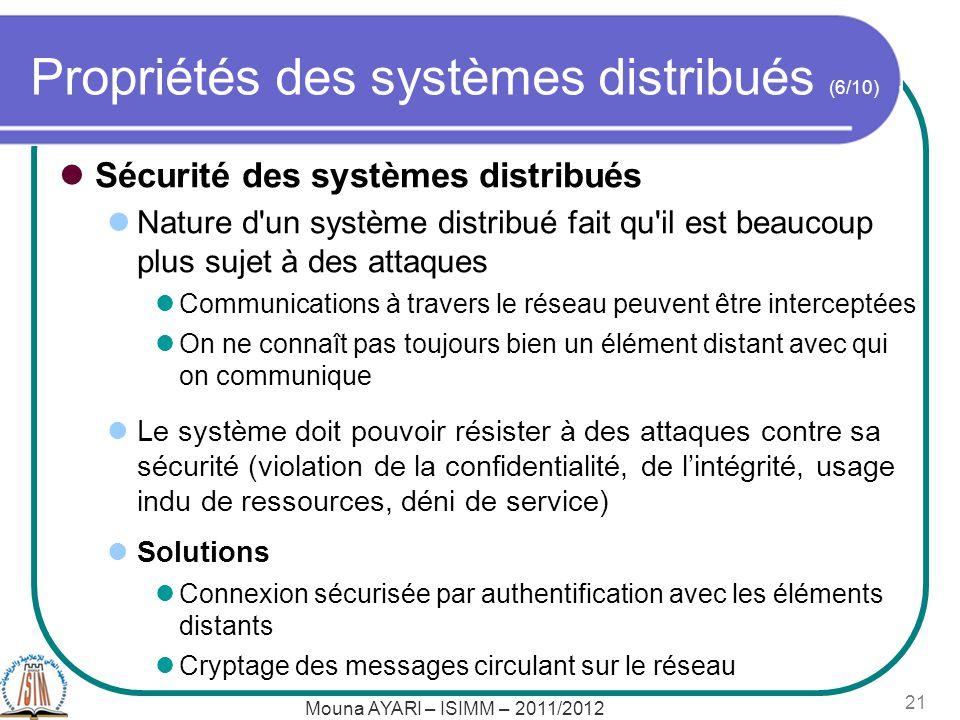 Propriétés des systèmes distribués (6/10) Sécurité des systèmes distribués Nature d'un système distribué fait qu'il est beaucoup plus sujet à des atta