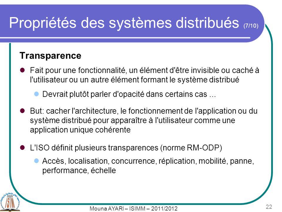 Mouna AYARI – ISIMM – 2011/2012 22 Propriétés des systèmes distribués (7/10) Transparence Fait pour une fonctionnalité, un élément d'être invisible ou
