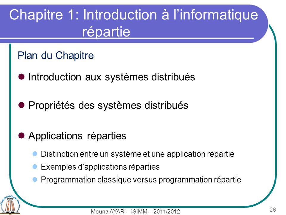 Mouna AYARI – ISIMM – 2011/2012 26 Chapitre 1: Introduction à linformatique répartie Plan du Chapitre Introduction aux systèmes distribués Propriétés