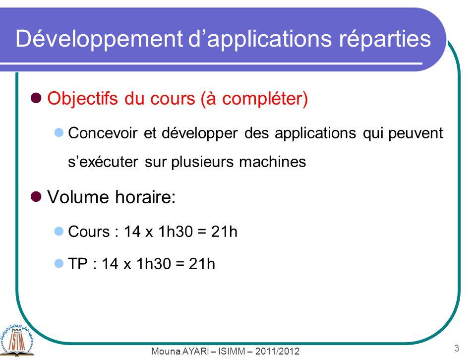Développement dapplications réparties Objectifs du cours (à compléter) Concevoir et développer des applications qui peuvent sexécuter sur plusieurs machines Volume horaire: Cours : 14 x 1h30 = 21h TP : 14 x 1h30 = 21h Mouna AYARI – ISIMM – 2011/2012 3