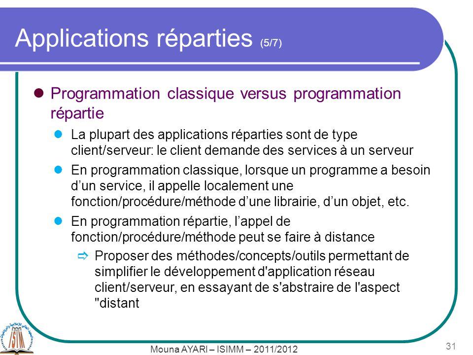 Applications réparties (5/7) Programmation classique versus programmation répartie La plupart des applications réparties sont de type client/serveur: le client demande des services à un serveur En programmation classique, lorsque un programme a besoin dun service, il appelle localement une fonction/procédure/méthode dune librairie, dun objet, etc.
