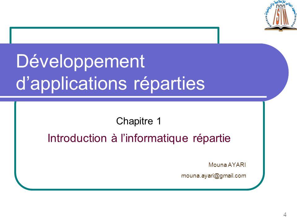 4 Chapitre 1 Introduction à linformatique répartie Mouna AYARI mouna.ayari@gmail.com Développement dapplications réparties