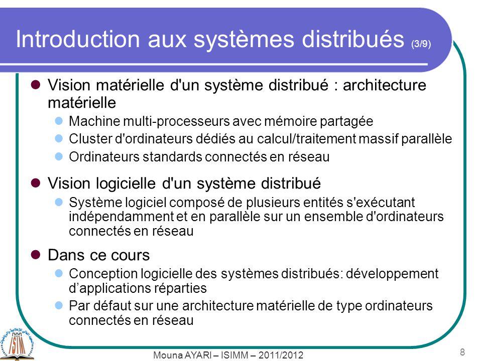 Mouna AYARI – ISIMM – 2011/2012 9 Introduction aux systèmes distribués (4/9) Exemples de systèmes distribués Serveur de fichiers Accès aux fichiers de l utilisateur quelque soit la machine utilisée Machines du département informatique oClients : LAIXXX Un serveur de fichiers Sur toutes les machines : /home/ali est le « home directory » de l utilisateur ali Physiquement : fichiers se trouvent uniquement sur le serveur Virtuellement : accès à ces fichiers à partir de n importe quelle machine cliente en faisant « croire » que ces fichiers sont stockés localement