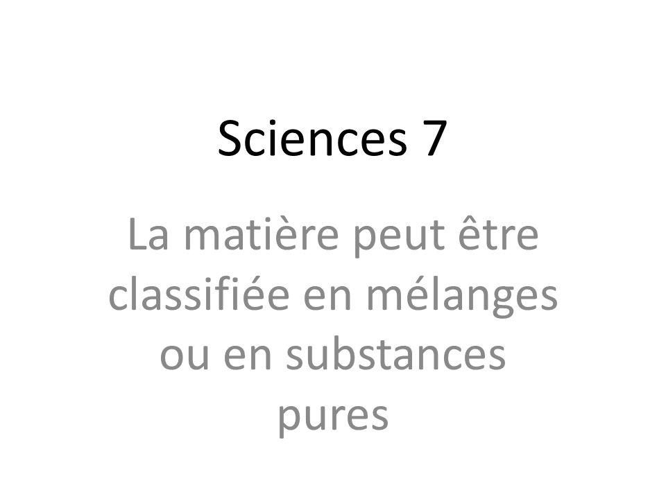 Sciences 7 La matière peut être classifiée en mélanges ou en substances pures