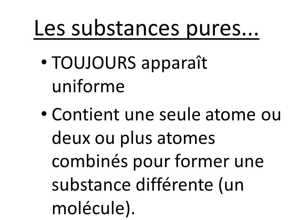 Les substances pures... TOUJOURS apparaît uniforme Contient une seule atome ou deux ou plus atomes combinés pour former une substance différente (un m