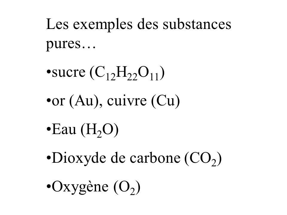 Les exemples des substances pures… sucre (C 12 H 22 O 11 ) or (Au), cuivre (Cu) Eau (H 2 O) Dioxyde de carbone (CO 2 ) Oxygène (O 2 )