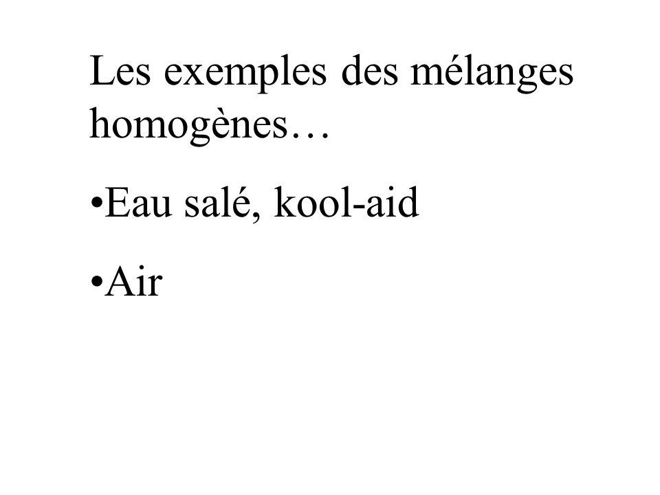Les exemples des mélanges homogènes… Eau salé, kool-aid Air
