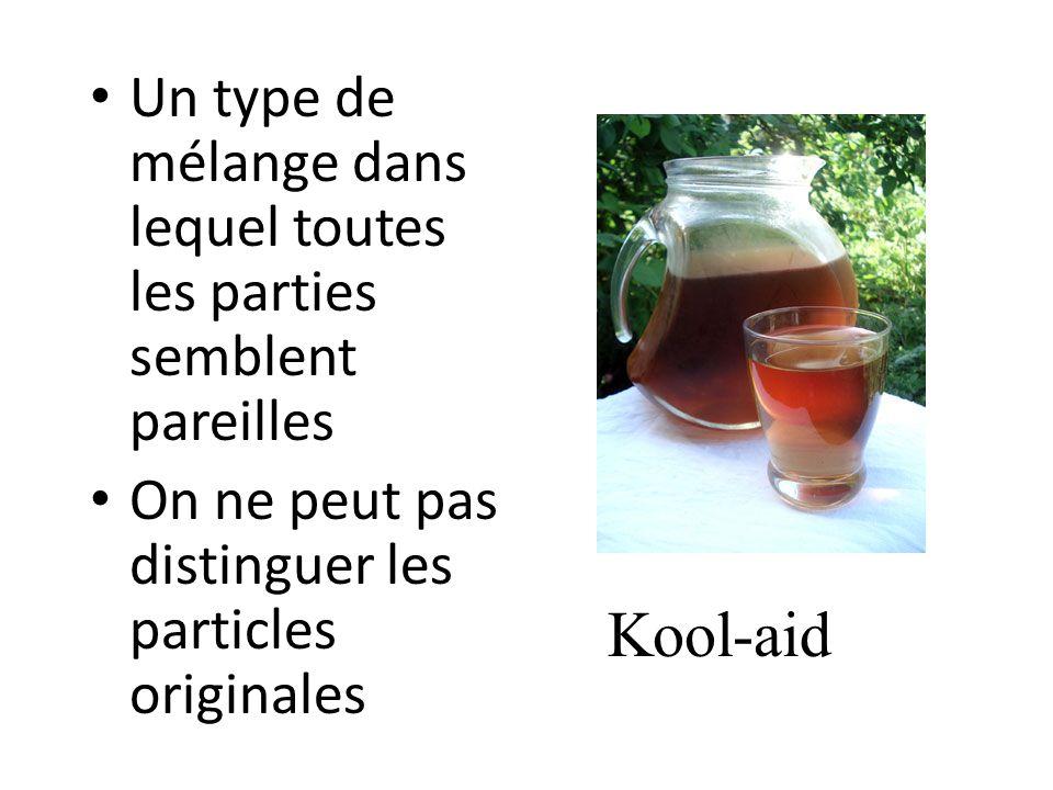 Un type de mélange dans lequel toutes les parties semblent pareilles On ne peut pas distinguer les particles originales Kool-aid