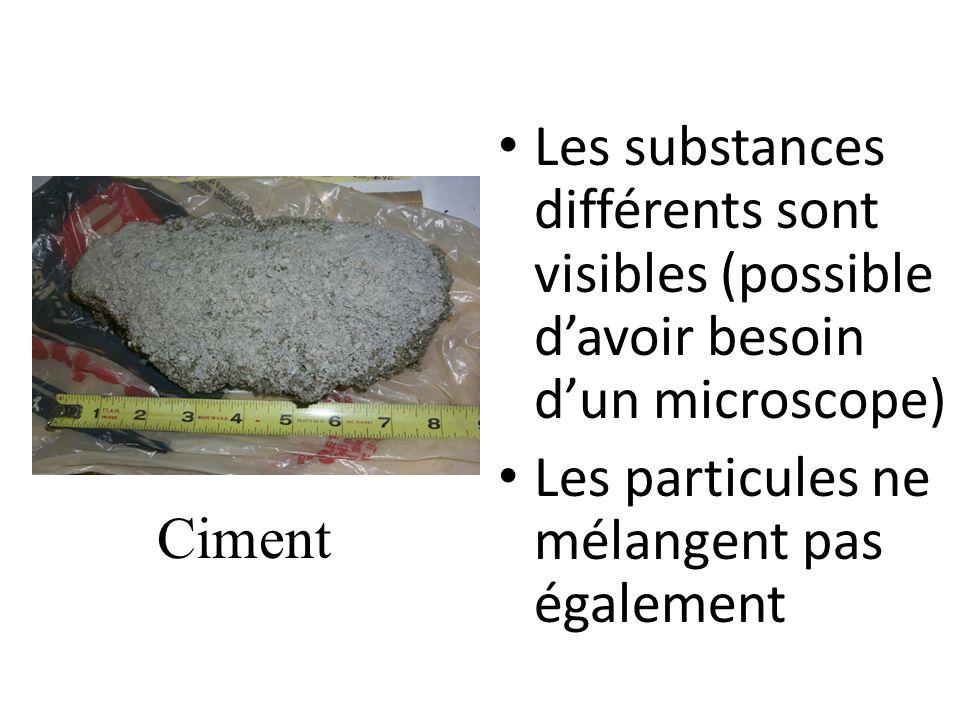 Les substances différents sont visibles (possible davoir besoin dun microscope) Les particules ne mélangent pas également Ciment