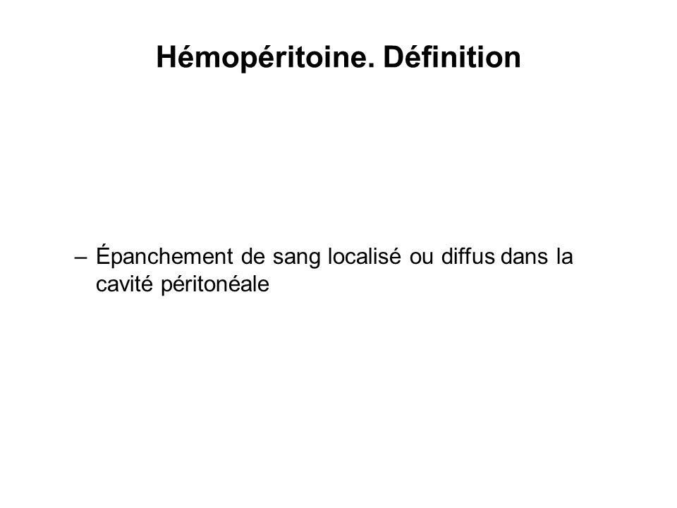 Hémopéritoine. Définition –Épanchement de sang localisé ou diffus dans la cavité péritonéale