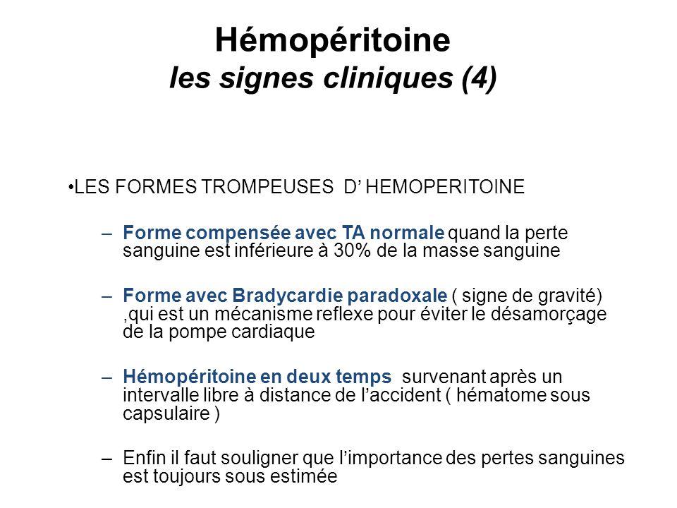 Hémopéritoine les signes cliniques (4) LES FORMES TROMPEUSES D HEMOPERITOINE –Forme compensée avec TA normale quand la perte sanguine est inférieure à 30% de la masse sanguine –Forme avec Bradycardie paradoxale ( signe de gravité),qui est un mécanisme reflexe pour éviter le désamorçage de la pompe cardiaque –Hémopéritoine en deux temps survenant après un intervalle libre à distance de laccident ( hématome sous capsulaire ) –Enfin il faut souligner que limportance des pertes sanguines est toujours sous estimée