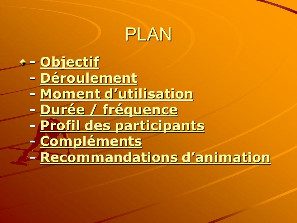 PLAN - Objectif - Déroulement - Moment dutilisation - Durée / fréquence - Profil des participants - Compléments - Recommandations danimation ObjectifD
