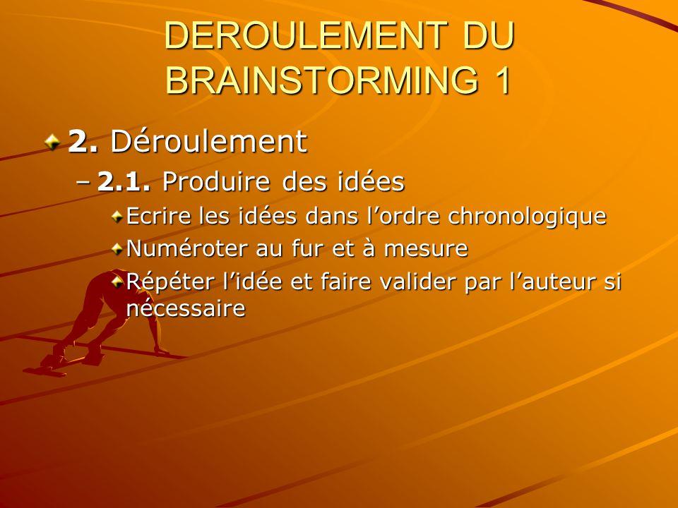 DEROULEMENT DU BRAINSTORMING 1 2. Déroulement –2.1. Produire des idées Ecrire les idées dans lordre chronologique Numéroter au fur et à mesure Répéter