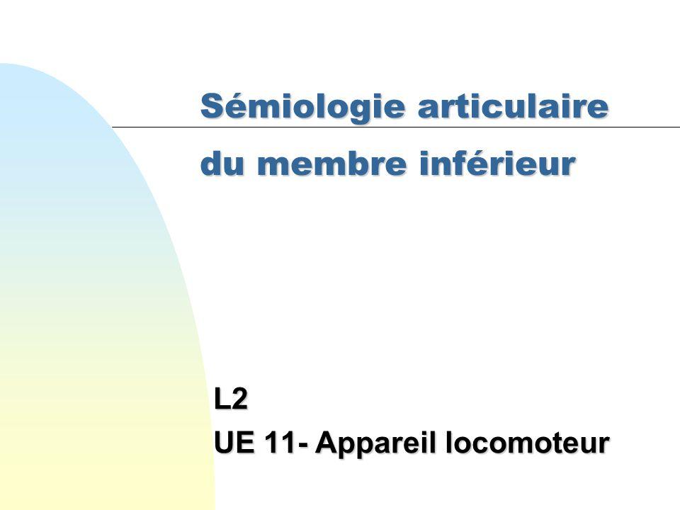 Sémiologie articulaire du membre inférieur L2 UE 11- Appareil locomoteur