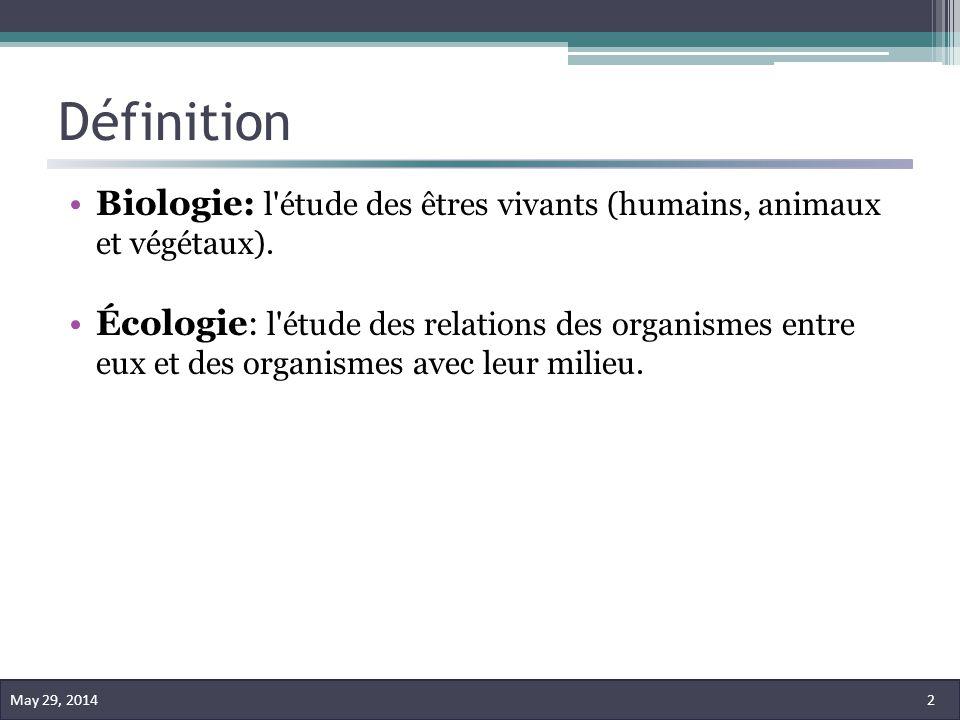 Définition Biologie: l'étude des êtres vivants (humains, animaux et végétaux). Écologie: l'étude des relations des organismes entre eux et des organis