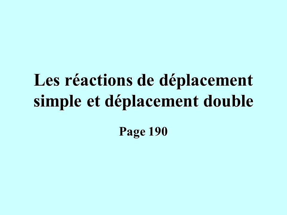 Les réactions de déplacement simple et déplacement double Page 190