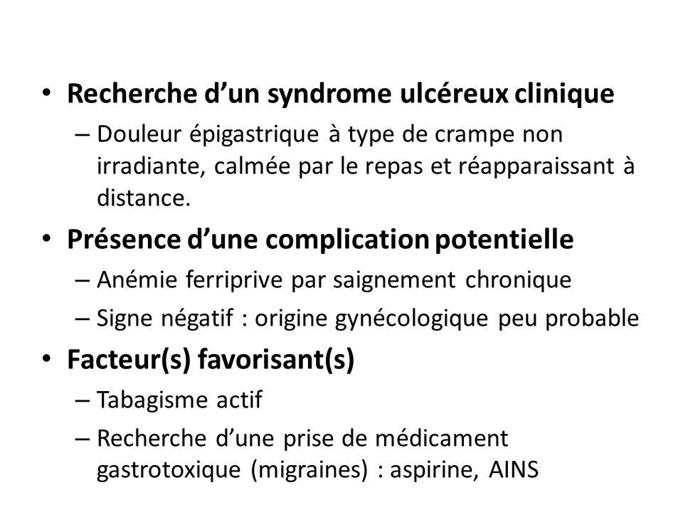 Recherche dun syndrome ulcéreux clinique – Douleur épigastrique à type de crampe non irradiante, calmée par le repas et réapparaissant à distance.