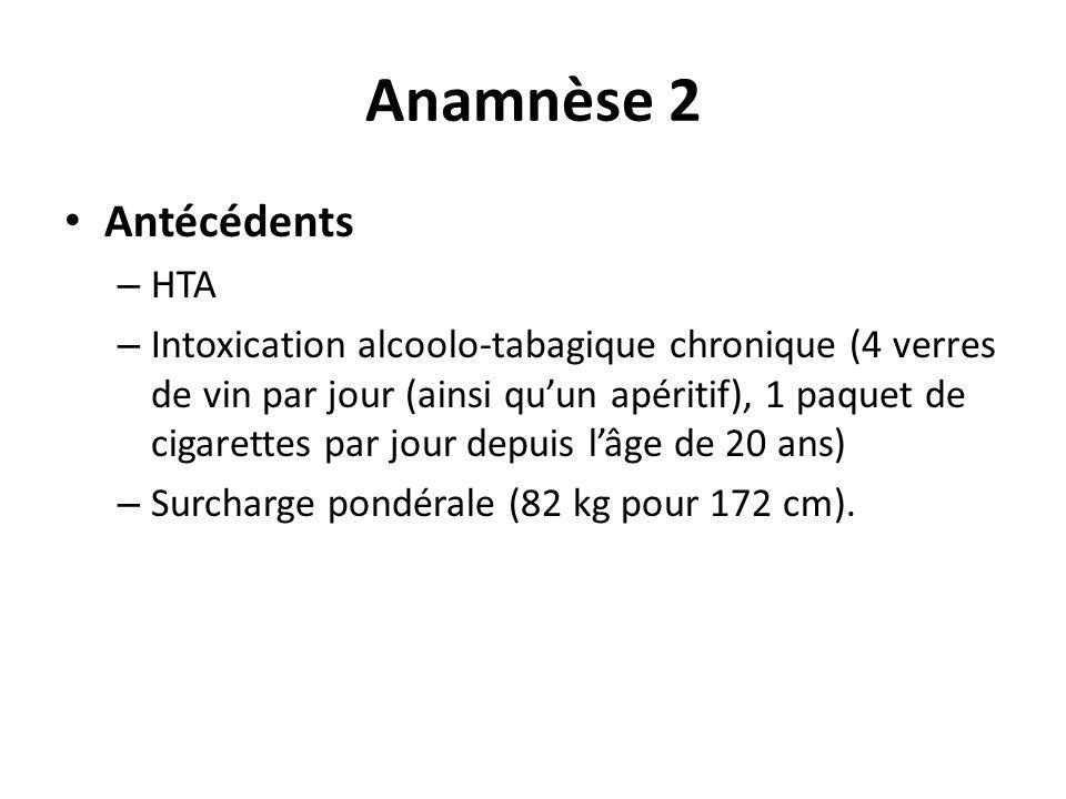 Anamnèse 2 Antécédents – HTA – Intoxication alcoolo-tabagique chronique (4 verres de vin par jour (ainsi quun apéritif), 1 paquet de cigarettes par jour depuis lâge de 20 ans) – Surcharge pondérale (82 kg pour 172 cm).
