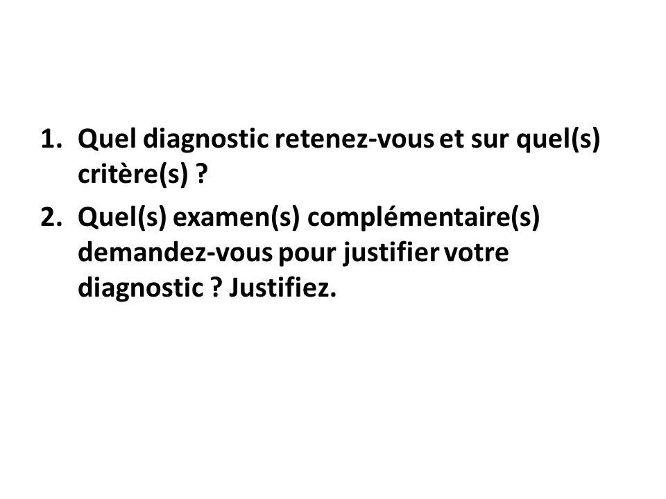 1.Quel diagnostic retenez-vous et sur quel(s) critère(s) .