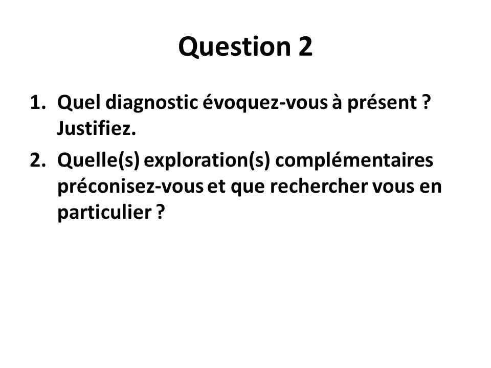 Question 2 1.Quel diagnostic évoquez-vous à présent .