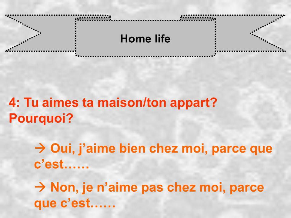 Home life 4: Tu aimes ta maison/ton appart? Pourquoi? Oui, j aime bien chez moi, parce que c est…… Non, je n aime pas chez moi, parce que c est……