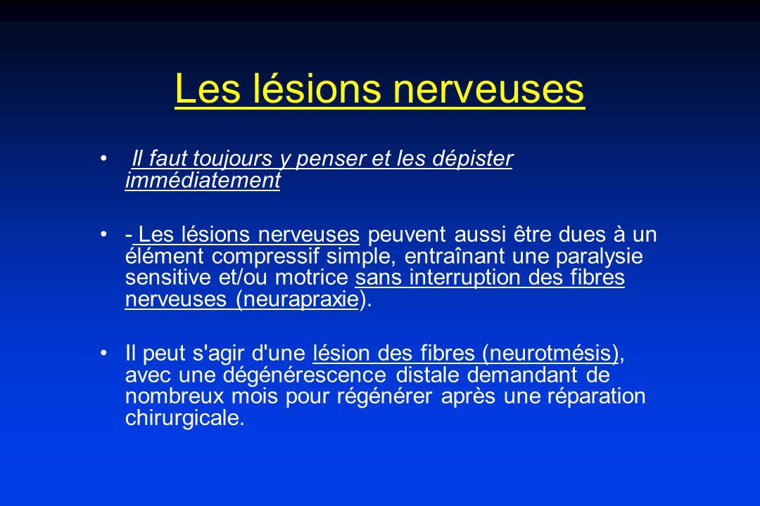 Les lésions nerveuses Il faut toujours y penser et les dépister immédiatement - Les lésions nerveuses peuvent aussi être dues à un élément compressif simple, entraînant une paralysie sensitive et/ou motrice sans interruption des fibres nerveuses (neurapraxie).