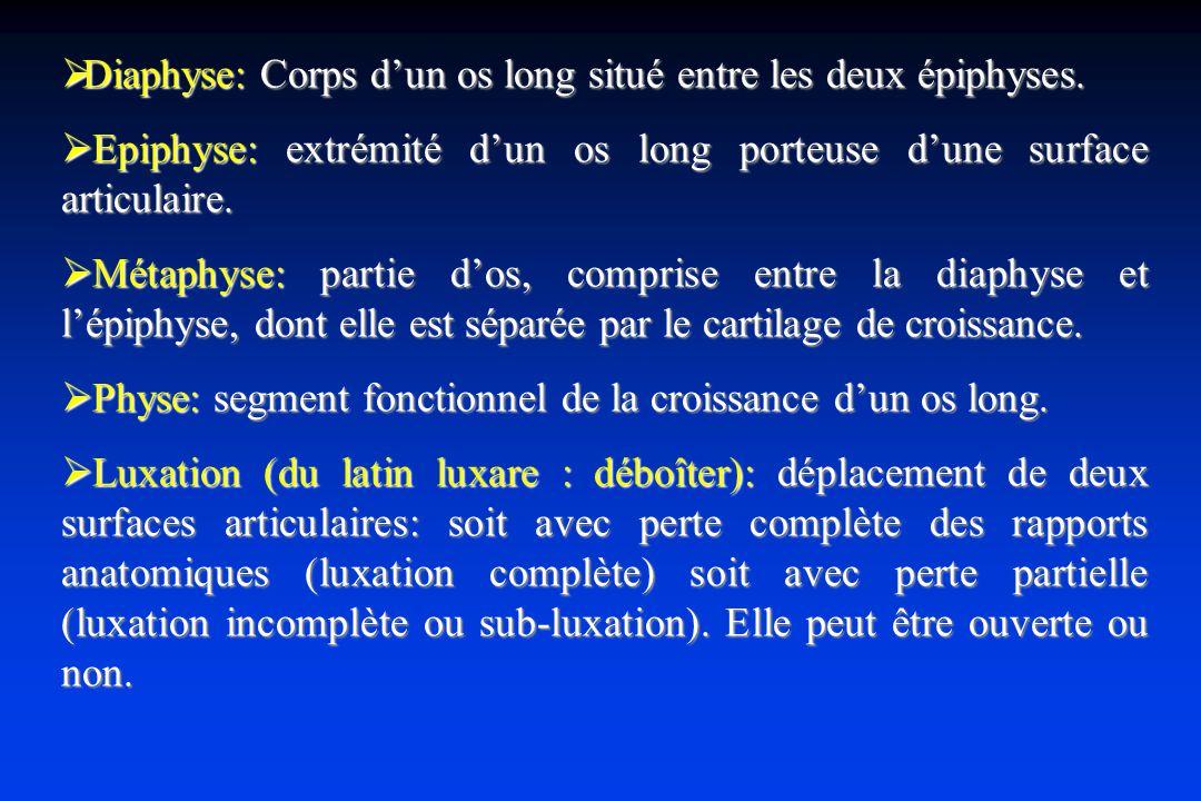 Diaphyse: Corps dun os long situé entre les deux épiphyses.